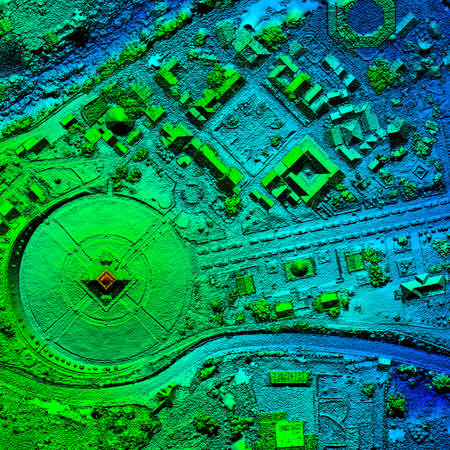 High Resolution Orthorectified, Orthorectification Aerial Map Used For Photogrammetry At Centre Of The World, Mitad Del Mundo In Quito Ecuador