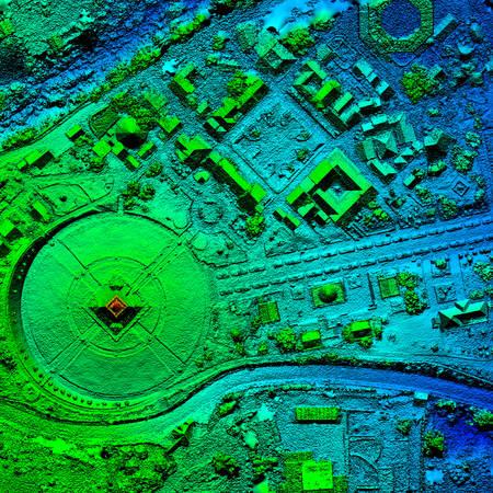 Ortorectificado de alta resolución, mapa aéreo de ortorectificación utilizado para fotogrametría en el centro del mundo, Mitad del Mundo en Quito, Ecuador
