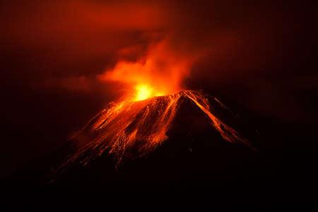 tungurahua volcano exploding in the night ecuador shot.