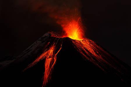 tungurahua volcano exploding in the night of ecuador shot