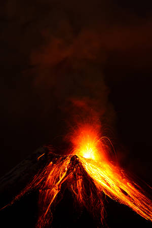 tungurahua volcano exploding in the night of ecuador
