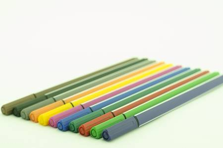 Colorful pen there are green red pink blue yellow orange violet