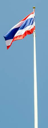waft: Thai National flag and bule sky background