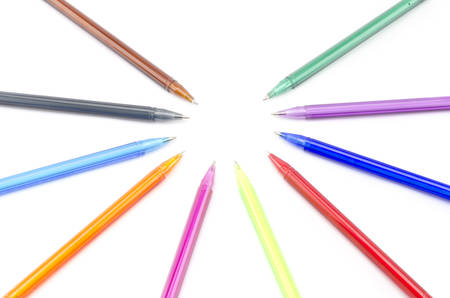 colorful pens isolated on white background photo