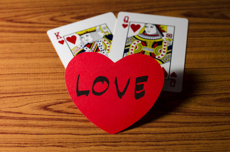 heart and love king queen  card on wood background Editorial