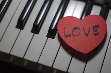 heart on key piano say love music photo