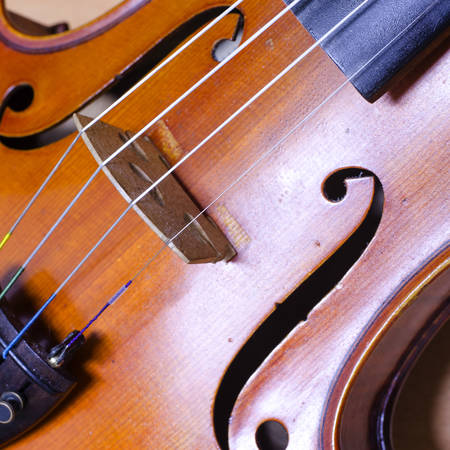 single soft brown violin with brown wallpaper photo