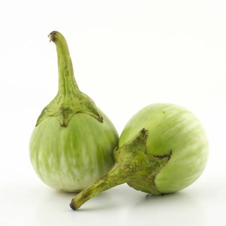 two eggplant vegetable isolated on white background photo
