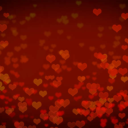 red tone of heart bokeh abstract background