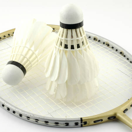 badminton isolated on white background photo