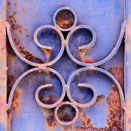very old rust door blue color background texture photo