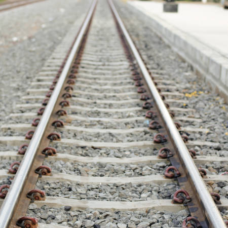 railway on country road in Thailand photo