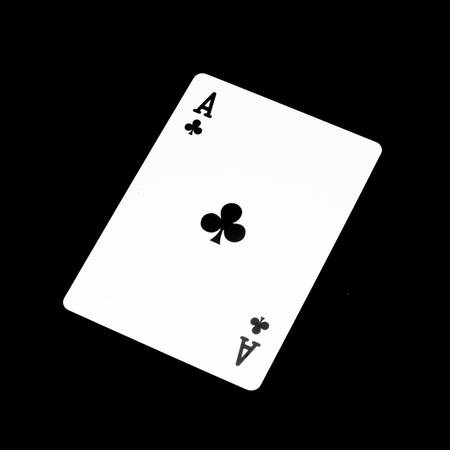 Ace clover card isolated on black background