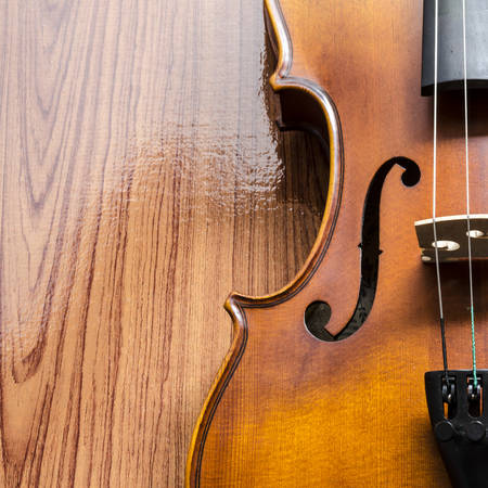 fingerboard: string instrument violin on wood background Stock Photo