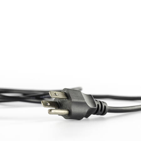 computer power plug cable on a white background photo