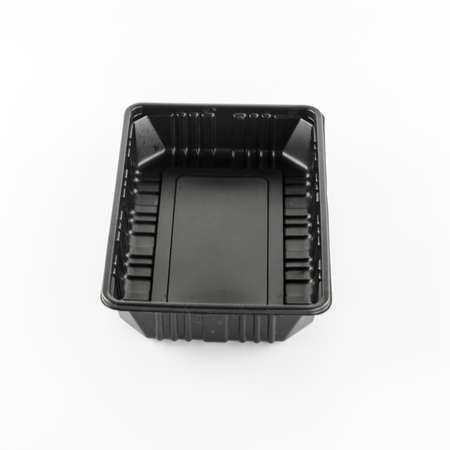black plastic tray on a white background