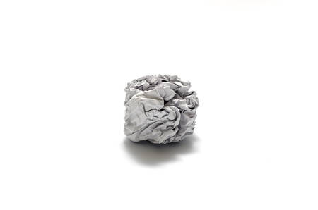 white crumpled paper ball on a white background