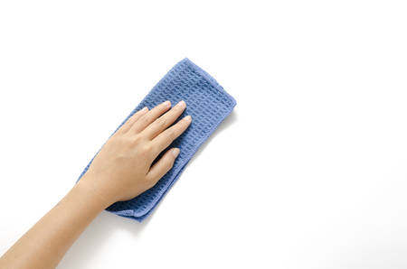 hang with blue rag cleaning on a white background photo