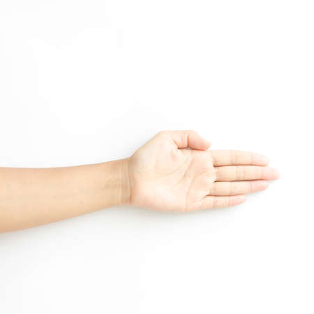 asia woman open hand on a white background photo