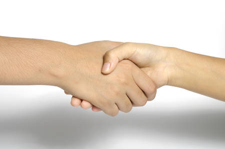 two people shake hands  business concept