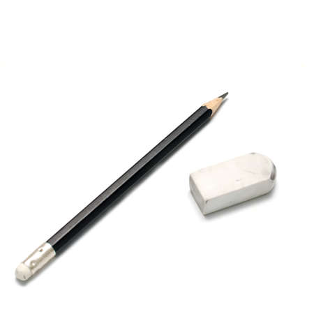 pencil and eraser on a white background Imagens - 33811321
