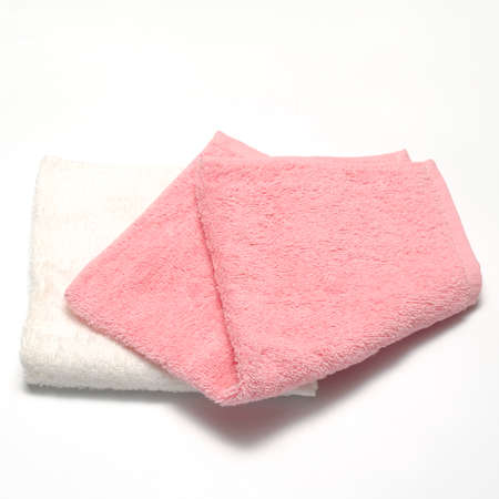 white pink towel on a white background