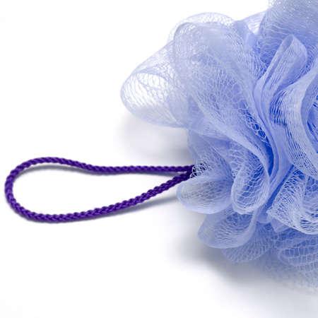 exfoliate: purple bath puff isolated on a white background Stock Photo