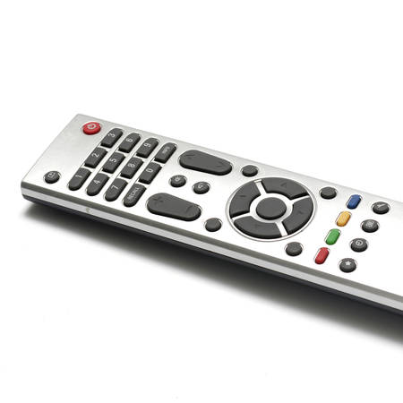 command button: television remote on a white background
