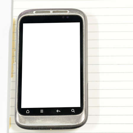 phone message: smartphone with note book on a white background Stock Photo