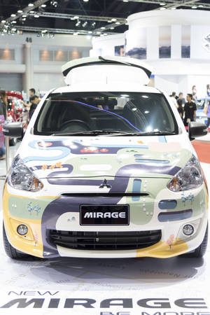 a mirage: BANGKOK,THAILAND - APRIL 4 : mitsubishi mirage show on April 4,2015 at the 36th Bangkok international motor show in Thailand.