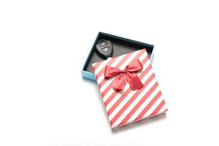 key box: car key and gift box isolated on white background Stock Photo