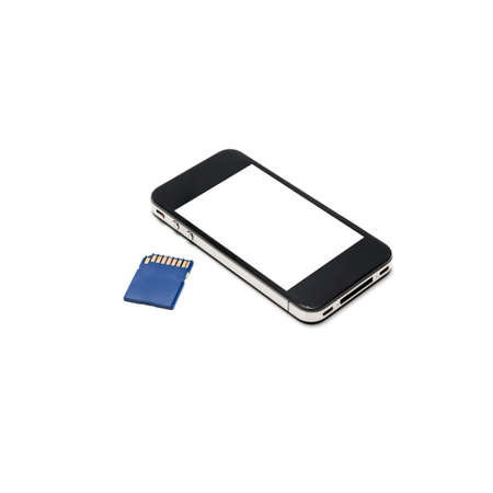 smart phone and sd card isolated on white background photo