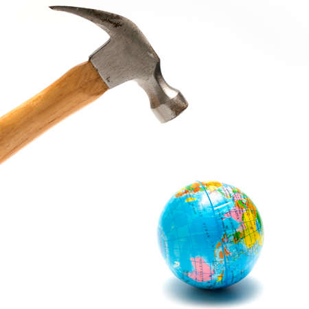 kill: hammer with earth ball isolated on white background concept kill the world