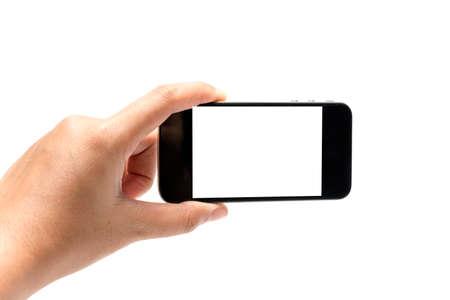 hand holding smart phone isolated on white background Stock Photo
