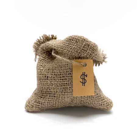 Empty burlap sack with money tag isolated on white background photo