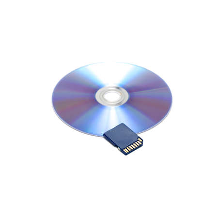 sd: sd card on cd dish isolated on white background Stock Photo