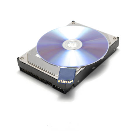 dish disk: sd card and hard disk with cd dish isolated on white background