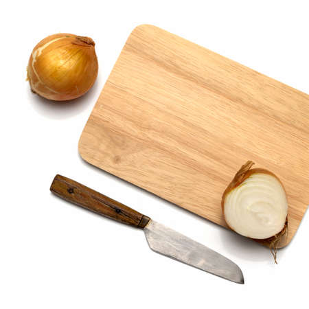 onion on cutting board with knife isolated on with background