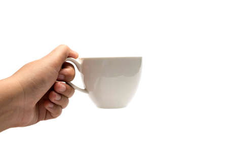 hand holding coffee cup isolated on white background Imagens - 40233003