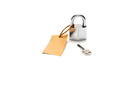 dangerous love: padlock and key with tag isolated on white background