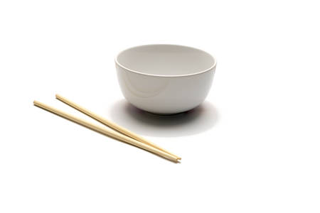empty bowl and chopstick isolated on white background Stock Photo