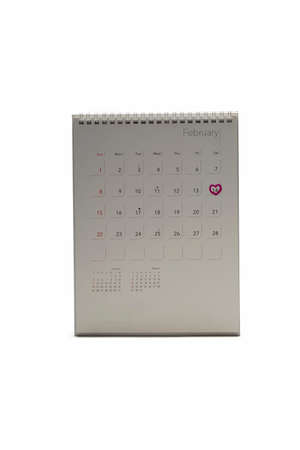 calendar isolated on white background mark heart on 14 Stock Photo