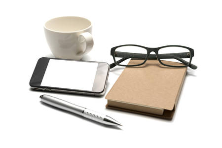 smart phone and eyeglasses with notebook and pen isolated on white background