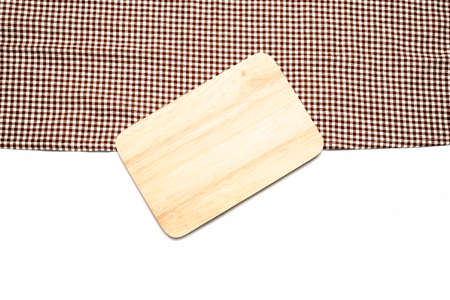 cutting board on kitchen towel isolated white background
