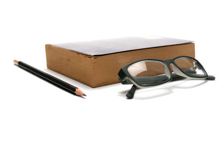 book pencil and eyeglasses isolated on white background