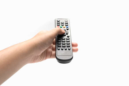 hand holding remote isolated on white background