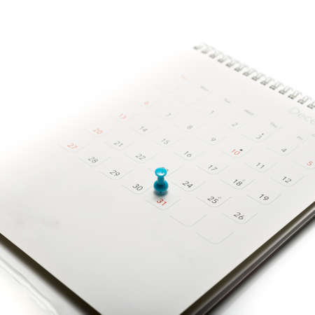drawingpin: pin on calendar isolated on white background