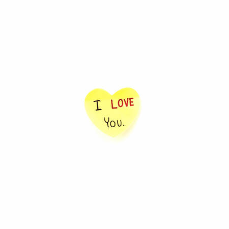 I love you write on heart paper card isolated on white background