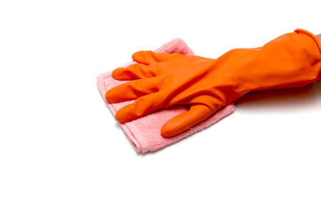 hand in cleaning glove with towel isolated on white background