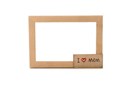 I love mom card and photo frame isolated on white background